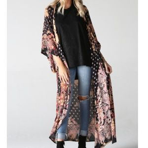 Angie Duster Kimono Floral Paisley Tie Dye Boho